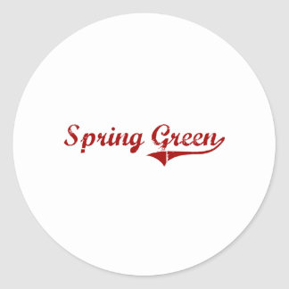 Diseño clásico verde de Wisconsin de la primavera Etiquetas Redondas