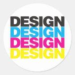 Diseño CMYK Etiqueta Redonda