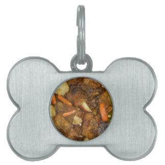 diseño cocido horno de la comida de las patatas de placa de nombre de mascota
