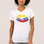 Diseño colombiano de la camiseta de los labios par playera