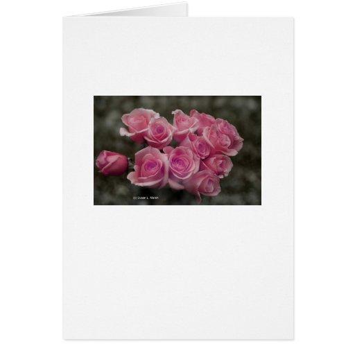 Diseño color de rosa rosado de la fotografía del tarjeta de felicitación