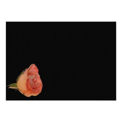 Diseño color de rosa rosado del fondo del negro de comunicados personalizados