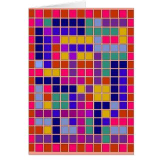 Diseño coloreado del extracto de los cuadrados tarjeta de felicitación