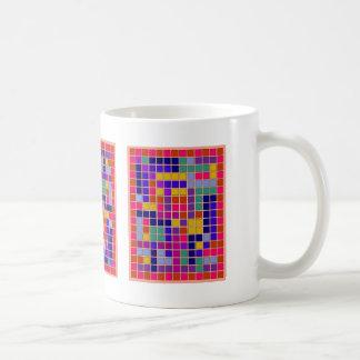 Diseño coloreado del extracto de los cuadrados taza de café