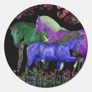 Diseño coloreado fantástico del caballo, parte pegatina redonda