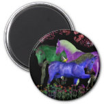 Diseño coloreado fantástico del caballo, parte pos iman de nevera