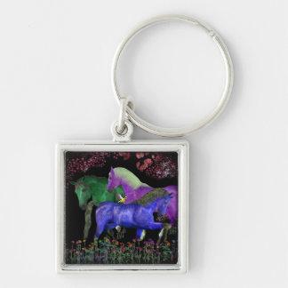 Diseño coloreado fantástico del caballo, parte pos llavero cuadrado plateado