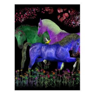 Diseño coloreado fantástico del caballo, parte postales