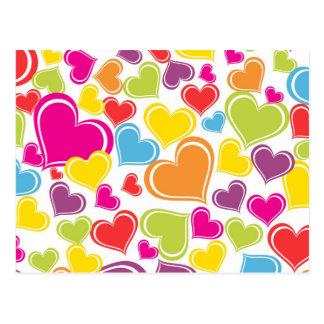 Diseño coloreado multi enrrollado de los corazones tarjetas postales