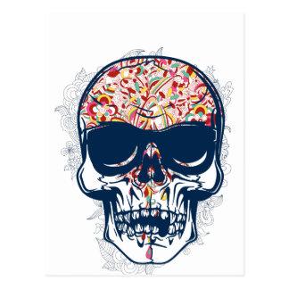 diseño coloreado zombi muerto del cráneo postales