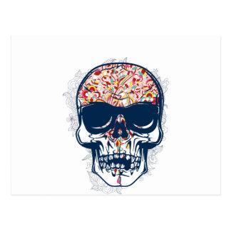 diseño coloreado zombi muerto del cráneo tarjetas postales