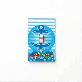 Diseño colorido abstracto náutico de los pescados placas para interruptor