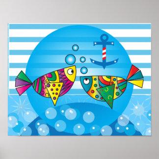 Diseño colorido abstracto náutico de los pescados póster