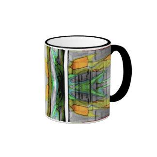 Diseño colorido abstracto taza de dos colores