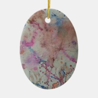 Diseño colorido adorno navideño ovalado de cerámica