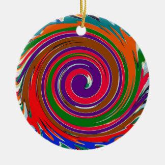Diseño colorido alegre del giro del viento del adorno navideño redondo de cerámica