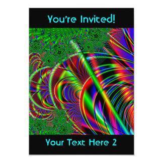 """Diseño colorido brillante del arte del fractal invitación 5"""" x 7"""""""