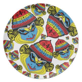Diseño colorido de la danza de Kerala Kathak para Plato