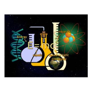 Diseño colorido de la física E=mc2 Tarjetas Postales