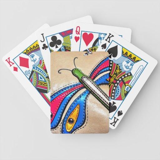 Diseño colorido de la libélula baraja cartas de poker