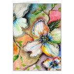 Diseño colorido de la magnolia felicitacion