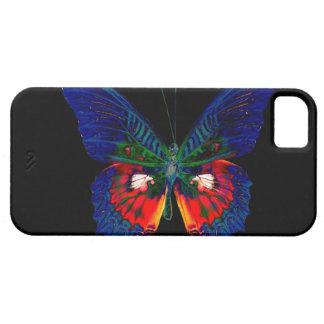 Diseño colorido de la mariposa contra el contexto funda para iPhone 5 barely there
