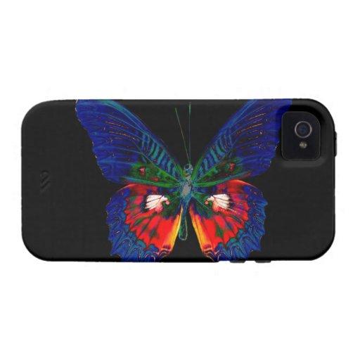 Diseño colorido de la mariposa contra el contexto  Case-Mate iPhone 4 carcasa
