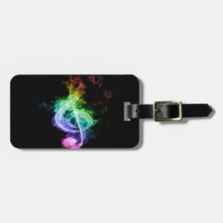 Diseño colorido de la nota musical etiqueta de maleta