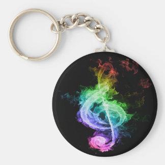Diseño colorido de la nota musical llavero redondo tipo pin
