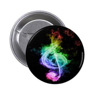 Diseño colorido de la nota musical pin redondo de 2 pulgadas