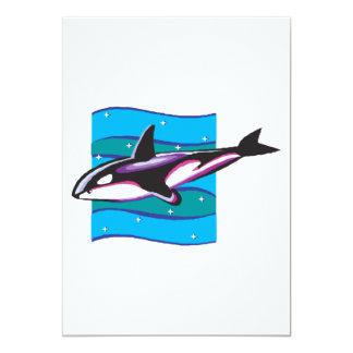 """diseño colorido de la orca invitación 5"""" x 7"""""""