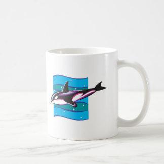 diseño colorido de la orca tazas