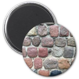 Diseño colorido de la pared de las rocas imán redondo 5 cm