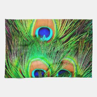 Diseño colorido de la pluma del pavo real impresio toallas de cocina