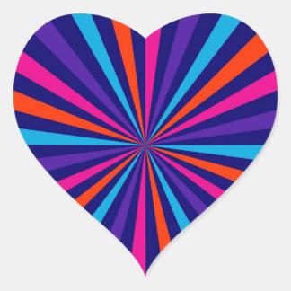 Diseño colorido de la rueda de hilado de la pegatina en forma de corazón