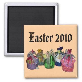 Diseño colorido de las cestas de Pascua Imán Cuadrado