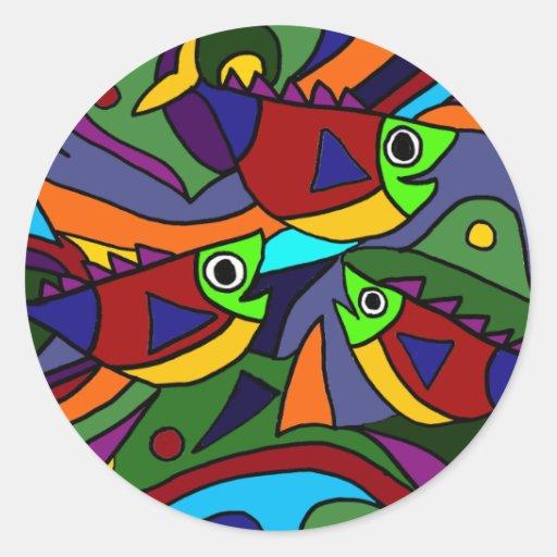 Diseño colorido del arte abstracto de los pescados pegatinas redondas