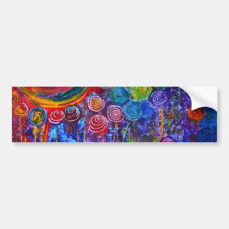 Diseño colorido del arte de los remolinos del cara etiqueta de parachoque
