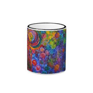 Diseño colorido del arte de los remolinos del cara tazas