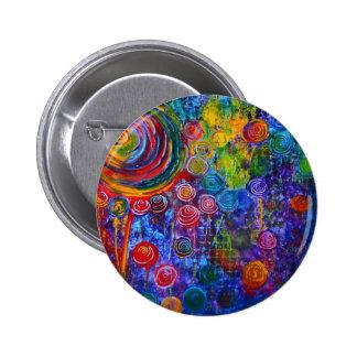 Diseño colorido del arte de los remolinos del pin redondo de 2 pulgadas