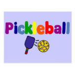 Diseño colorido del arte de Pickleball Tarjeta Postal
