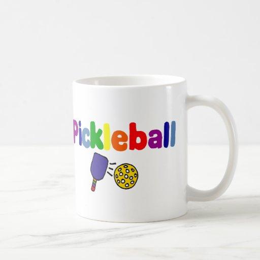 Diseño colorido del arte de Pickleball Taza