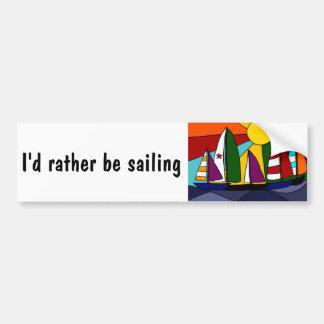 Diseño colorido del arte del arco iris de la naveg etiqueta de parachoque