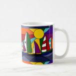 Diseño colorido del arte del arco iris de la naveg taza