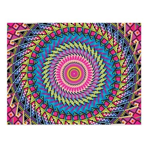 Diseño colorido del caleidoscopio tarjeta postal