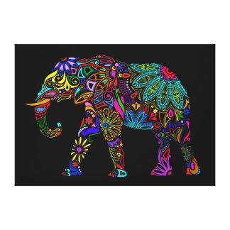 Diseño colorido del elefante impresión en lona estirada