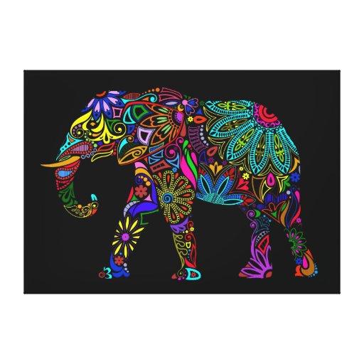 Diseño colorido del elefante impresión en lienzo estirada