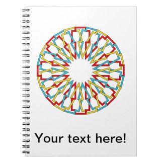 Diseño colorido del extracto de la rueda libro de apuntes con espiral