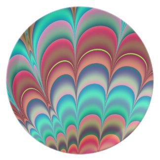 Diseño colorido del extracto del fractal platos para fiestas