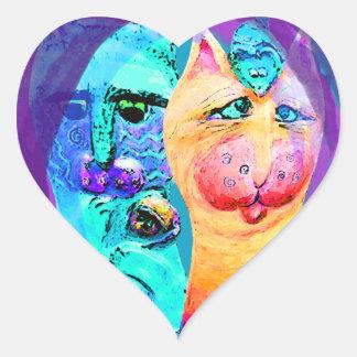 Diseño colorido del gato de los gatos y de los pegatina en forma de corazón